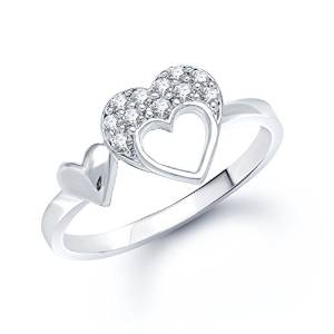 vk jewels double heart (cz) rhodium plated ring - fr1025r [vkfr1025r]