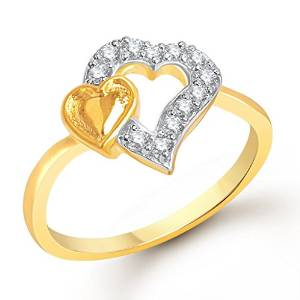vk jewels dual heart gold and rhodium plated ring for girls - fr1145g size-12 [vkfr1145g12]