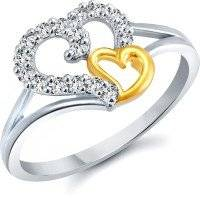 meenaz lovely heart white plated cz ring fr402
